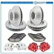 Front Rear Brake Rotors Calipers Ceramic Pad For Ford Excursion F-350 Super Duty