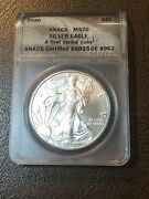 2020 Silver Eagle Anacs Ms70 First Strike - See My Listings For Silver Coins