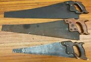 Vintage Lot Of 3 Disston Atkins Wood Handle Crosscut Carpenters Hand Saw Saws