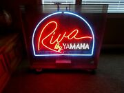 Riva By Yamaha Large Neon Sign In Plexyglass Protective Case Jet Ski / Scooter