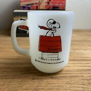 Fire King Vtg Snoopy Curse You Red Baron Milk Glass Mug Cup Made In Usa Nice Red