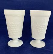 Set Of 2 Vintage White Milk Glass Footed Goblets Glasses Grapes And Leaves Pattern
