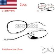Us Store 1 Pair Chrome Rearview Side Mirrors For Universal 10mm Motorcycle