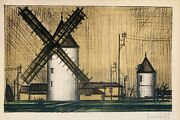 Bernard Buffet Windmill Lithograph On Paper Hand Signed And Numbered