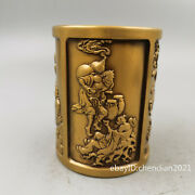 4.2 China Antique Old Brass Seiko Casting Eight Immortals Pen Holder