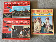 3 Vintage Puzzles - 1 Built-rite And 2 Jaymar Pan Am Round World Jigsaw Puzzles