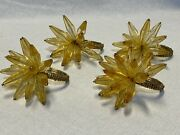 4 Lucite Gold Amber Napkin Rings Holders Acrylic Plastic Fennco Style Crystal