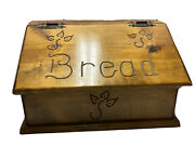 Vintage Wood Burned Bread Box Wooden Country Rustic Kitchen Hinged Lid Engraved