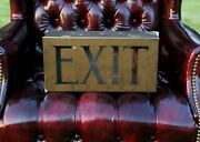 Vintage Antique Lighted Theater Hotel Lobby Exit Sign Brass Light Art Deco