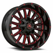 4 New American Off-road Wheels A105 20x12 6x139.7 -44 Black Milled Red