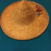 2 Antique Oriental Coolie/rice Patty Hats Great Wall Decor