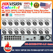 Hikvision 16ch 16poe Full Time Color Cctv Systems P2p 4mp Mic Wdr Ip Camera Lot