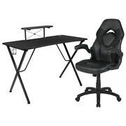 Flash Furniture Black Gaming Desk And Black Racing Chairmonitor/smartphone Stand
