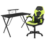 Flash Furniture Black Gaming Desk And Green/black Racing Chair /smartphone Stand