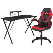 Flash Furniture Black Gaming Desk And Red/black Racing Chair Set With Cup Stand