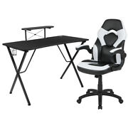 Flash Furniture Black Gaming Desk And White/black Racing Chair/smartphone Stand