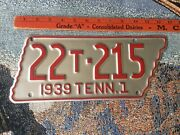 1939 Tennessee State Shaped Truck License Plate 22t-215 Weakley County Repaint