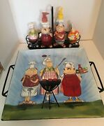 Tracy Flickinger Masters Of The Grill Platter W/trivet And Condiment/saltandpepper