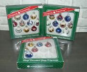 26 Vintage Bradford Christmas Hand Decorated Glass Ornaments Indents And Balls