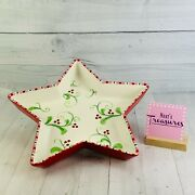 Fitz And Floyd Mingle Jingle Be Merry Star Shape Candy Cane Trim Serving Bowl Dish
