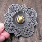 Antique Reproduction Ornate Cast Iron With Brass Button Electric Door Bell Push