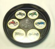 Vintage Round Auto Antique Automobile Serving Tray Tin Ford Olds Runabout 60s Mp