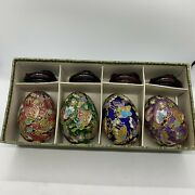 """4 Vintage Chinese Cloisonne Eggs With Stands Original Box Box 2 ½"""""""