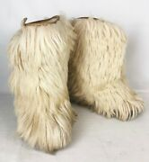 Vintage Yeti Goat Fur Winter Boots Beige Made In Italy Sz 8.5