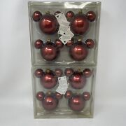 Retired Disney Store Mickey Mouse Red Satin Glass Ear Ornaments New Sealed 8