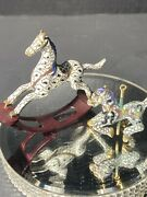 Vintage Miniature CloisonnÉ Carousel And Rocking Horses With Gold Figurines