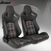 Universal Reclinable Racing Seat 2pc Dual Slider Pu Carbon Leather Red Plaid