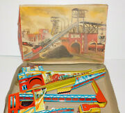 Rare Nm Tin Wind Up Technofix Toy Train With Coal Car Made In Western Germany