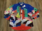 Robert Graham Abstract Stairs Multi-color Long Sleeve Button Shirt Mens Sz L