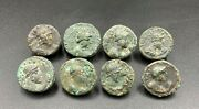 Lot Of 8 Old Ancient Antique Rare Bronze Indo Greco Greekand039s Kushan Coins Jewelry