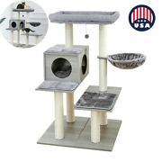 Us Pet Bed House Gray Cat Tree 3 Level Tower With Scratching Climb Activity Toys