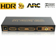 4k Hdmi Splitter 1x2 With Optical Toslink Audio Extractor 5.1 2 Way Hdr Arc Edid