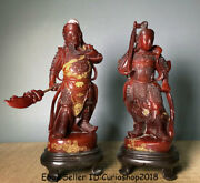 11.4 Old China Natural Red Shoushan Stone Carved Guan Gong Veda God Statue Pair