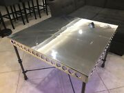 Polished Aluminum Custom Table Top 37andrdquo Square Aviation Art With Lights + Rivets