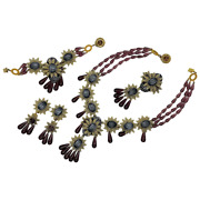 Stanley Hagler Nyc Brass Purple Glass Drops Beaded Necklace Bracelet Brooch And