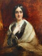 C1842 Portrait Young Lady By Sir William Boxall 1800-1879 Antique Oil Painting
