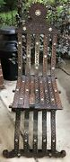 Antique Wood Syrian Counselor Folding Chair W/ Mother Of Pearl Inlay Beautiful