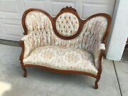 Vtg Kimball Made Settee Sofa Solid Mahoganyw/hand Carved Roses Mint Cond 100.00