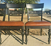 Rare Ethan Allen British Classics Antique Black Specialty Chairs - Leather