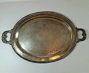 Vintage F B Rogers Silver On Copper 403 Large Serving Platter Tray 16 1/2 Rare