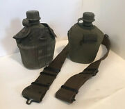 2 Vintage Army Military Canteens With Belt. 1966 And 1976. Great Condition.