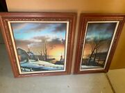 Pair Of Beautiful Oil Paintings, Nice Colorful New England Snow Scene Landscape