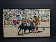 Large Hand Painted And Framed Tiles Bullfighter Arena Scene Free Shipping