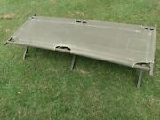 Vintage 1952 Us Army Military Cot Canvas With Wood Frame Green Cot Camping Cot