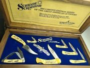 Vintage / Rare Gift Box Set Schrade Old Timer - Usa Folding And Fixed Blade Knife