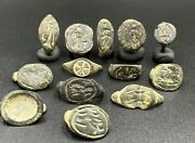 Lot Of 13 Old Ancient Antique Jewelry Bronze Intaglio Signet Seal Broken Rings